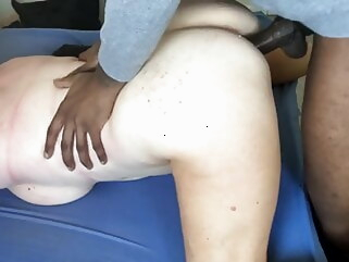interracial amateur Mature wife is getting fucked by her BBC bull. Hubby films.