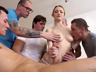 blonde anal Belle Claire Gangbang