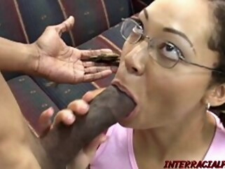 blowjob brunette Babe with a BBC in her mouth
