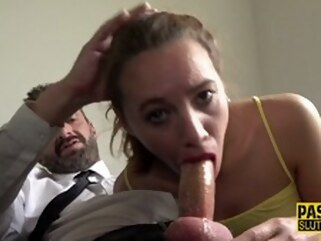 hardcore brunette Frisky Teen Submissive Gets Throated and Plowed
